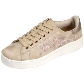 Damen Sneaker Stickerei gold