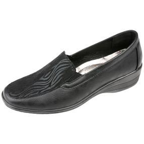 IDENTITY Damen-Elastik-Slipper schwarz zebra