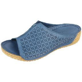 Andrea Conti Damen Leder-Pantolette jeansblau