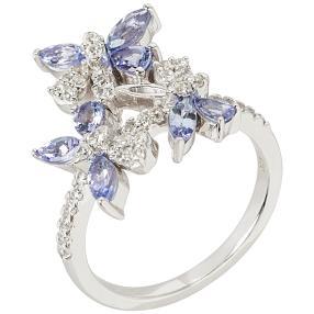 Ring 925 Silber rhodiniert Tansanit+Zirkon