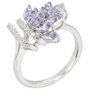Ring 925 Sterling Silber Tansanit+Zirkon