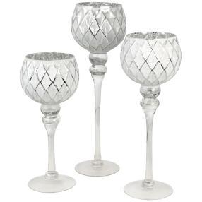 Glaskelche weiß-silber, 3er-Set