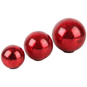 Dekokugeln Crackle, rot, 3er-Set