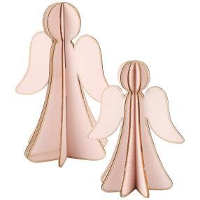 Glitter-Engel 2er-Set rosa