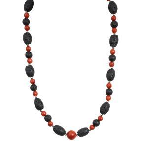 Collier Koralle/Lava, Magnetverschluss