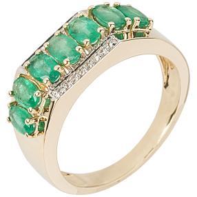 Ring 585 Gelbgold, Sambia Smaragd