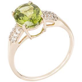 Ring 375 Gelbgold, Peridot + Topas