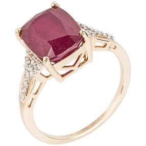 Ring 375 Gelbgold Rubin behandelt