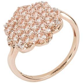 Ring 925 Sterling Silber rosévergoldet, Morganit