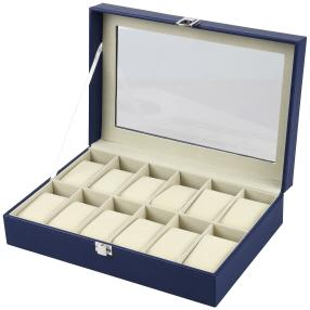 Uhrenbox für 12 Uhren aus dunkelblauem PU Leder