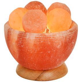 Beleuchtete Salzkristall-Schale mit Massagekugeln