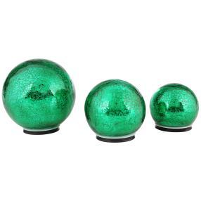 LED-Outdoorkugeln grün, 3er-Set, Crackle