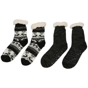 Home Shoes 2er Set schwarz Hirsch/Glitzer