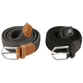 2er Set Strechgürtel 105 bis 120 cm schwarz grau