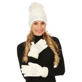 Damenset: Mütze + Handschuhe Scheeflocke Perlen