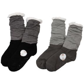 Home Shoes 2er Set Glitzer taupe schwarz