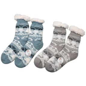 Home Shoes 2er Set Hirsch iceblau hellgrau