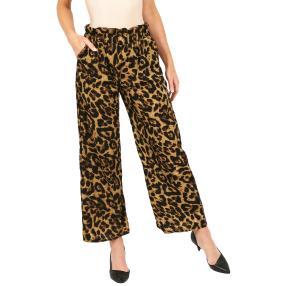 Weite Damen-Hose 'Leopard' khaki/schwarz