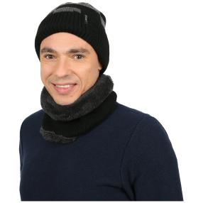 Herrenset: Mütze + Schal schwarz one size