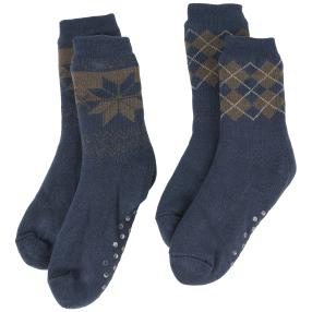 Home Shoes Herrenset navy kariert/Eiskristall
