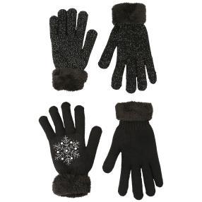 2er Set Handschuhe Teddy schwarz exklusiv