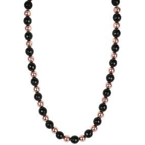 Collier Obsidian + Hämatit rosévergoldet