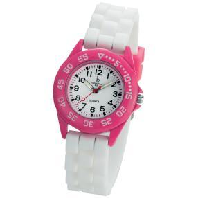 Crystal blue Mädchenuhr pink/weiß