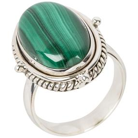 Ring 925 Sterling Silber, Malachit