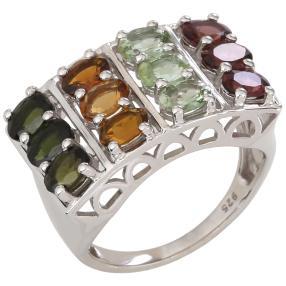 Ring 925 Sterling Silber rhodiniert Turmalin