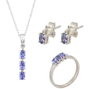 3-teiliges Set 925 Sterling Silber Tansanit