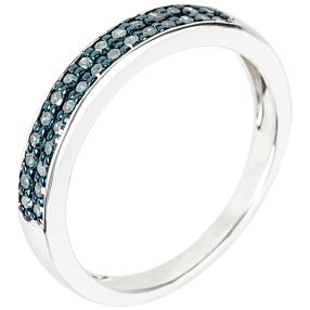 Ring 925 Sterlingsilber rhodiniert Diamanten blau
