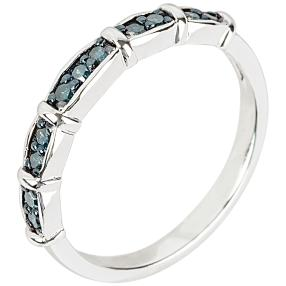 Ring 925 Sterling Silber rhodiniert Diamanten blau