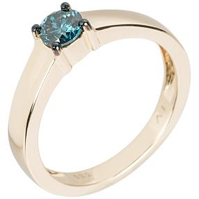Ring 585 Gelbgold Diamant, blau