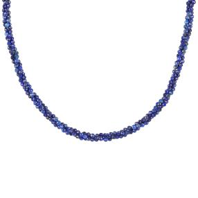 Collier Lapis 3reihig 925 Sterling Silber