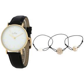 Estrela Damenuhr, golden mit 3 Schmuckbändern
