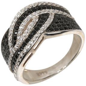 Ring 925 Silber, Zirkonia schwarz/weiß