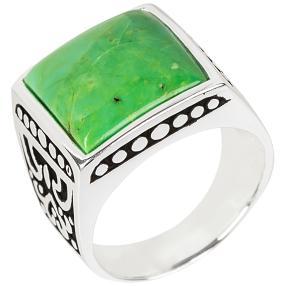 Ring 925 Sterling Silber Türkis grün rekonstruiert