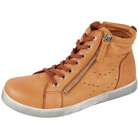 Andrea Conti Leder Damen-High Sneaker cognac