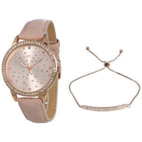 Crystal blue Damenuhr rosévergoldet + Armband