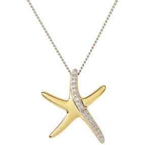 Anhänger Kette 925 St. Silber vergoldet Diamant