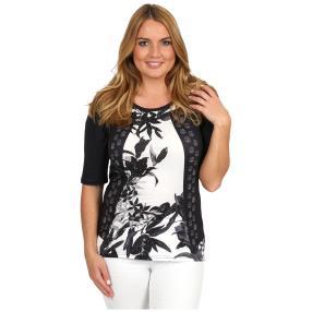 BRILLIANTSHIRTS Shirt 'Dark Bloom' schwarz/weiß