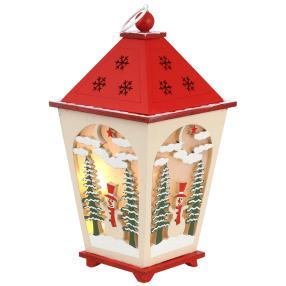 LED-Holzlaterne rot-weiß