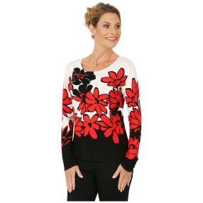 MILANO Design Pullover 'Messina', schwarz/rot/weiß