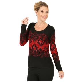 MILANO Design Pullover 'Marsala' schwarz/rot