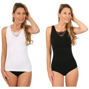 SLIM SECRET 2er Pack Top schwarz/weiß