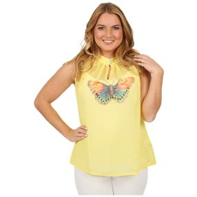 ManouLenz Blusentop 'Butterfly' gelb