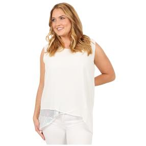 ManouLenz Chiffon-Top 'Glamour' offwhite