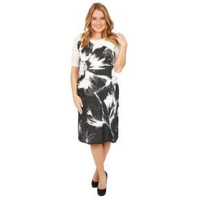 ManouLenz Kleid 'Black Flower' weiß/schwarz