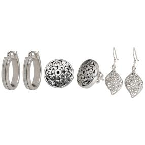 Set 3 Ohrringe 925 Sterling Silber