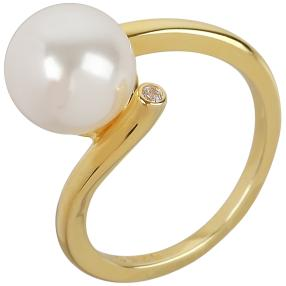 Ring 925 St. Silber vergoldet Muschelkernperle